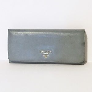 Prada light blue saffiano leather long snap wallet